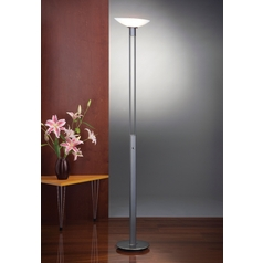 Holtkoetter Modern Torchiere Lamp with White Glass in Hand-Brushed Old Bronze Finish