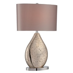 Lite Source Lighting Mandalay Gold Mirror, Chrome Table Lamp with Oval Shade
