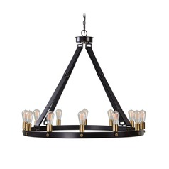 Industrial Edison Bulb Chandelier Bronze 40.25-Inch by Uttermost Lighting