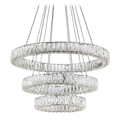 Crystal Chrome LED Chandelier with Clear Shade 4000K 5000LM