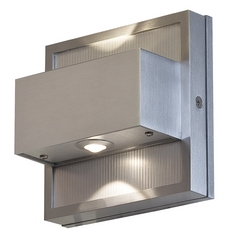 LED Outdoor Wall Light in Satin Nickel Finish