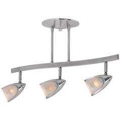 Modern Semi-Flushmount Light with White Glass in Brushed Steel Finish