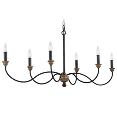 Feiss Lighting Hartsville Dark Weathered Zinc / Weathered Oak Chandelier