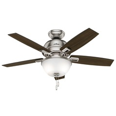 44-Inch Hunter Fan Donegan LED Ceiling Fan with Light - Brushed Nickel Finish