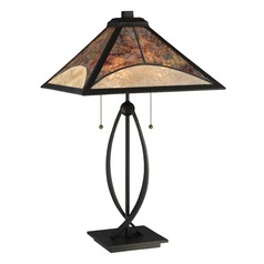 Quoizel Lighting Mica Dark Bronze Table Lamp with Square Shade