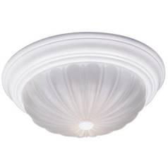 Flushmount Light with White Glass in Fresco Finish