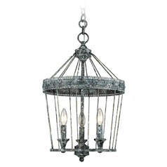 Ferris 3 Light Chandelier in Blue Verde Patina