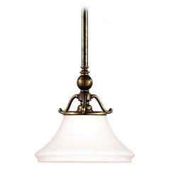 Pendant Light with White Glass in Historic Bronze Finish