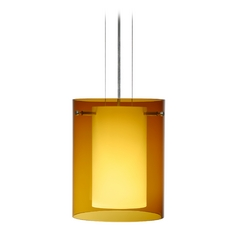 Modern Pendant Light with Amber Glass in Satin Nickel Finish