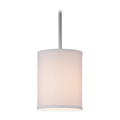 Design Classics Lighting Modern Nickel Mini-Pendant Light with White Drum Shade DCL 6542-09 SH7482
