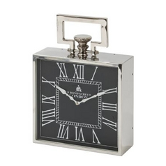 Square Clock in Polished Nickel Finish