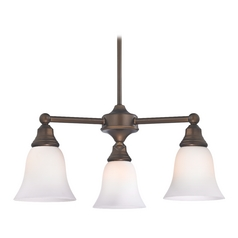 Design Classics Lighting Chandelier with White Glass in Neuvelle Bronze Finish 598-220 GL9222-WH