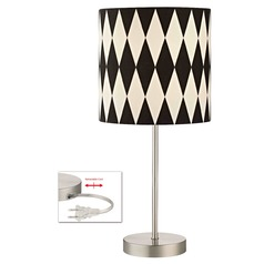 Satin Nickel Table Lamp with Harlequin Patterned Drum Shade