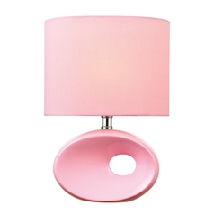 Lite Source Lighting Hennessy Ii Pink Table Lamp with Oval Shade