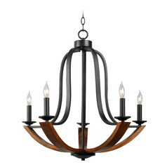 Oregon Bronze with Wood Chandelier by Kenroy Home
