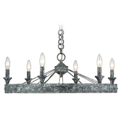 Ferris 6 Light Chandelier in Blue Verde Patina