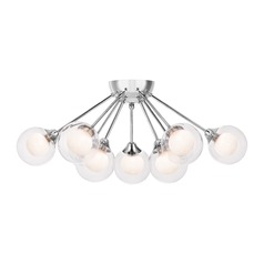 Mid-Century Modern Semi-Flushmount Light Polished Chrome Platinum Collection Spellbound