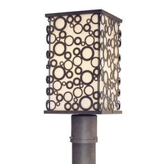 Modern Post Light with White Glass in French Iron Finish