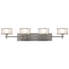 Bathroom Light with Silver Shades in Brushed Steel Finish