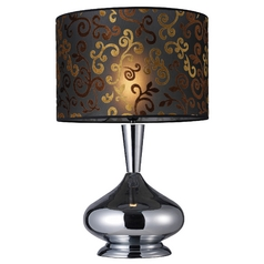 Modern Table Lamp with Black Shade in Chrome Finish