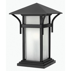 Pier Light with White Glass in Satin Black Finish