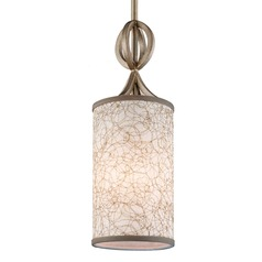 Feiss Parchment Park Burnished Silver Mini-Pendant Light with Cylindrical Shade