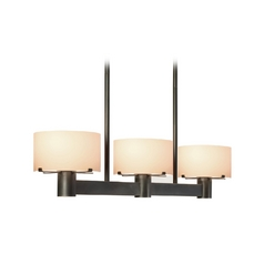 Sonneman Lighting Modern Drum Island Light with White Glass in Black Brass Finish 6051.51