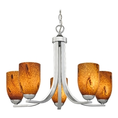 Modern Chandelier with Brown Art Glass in Polished Chrome Finish