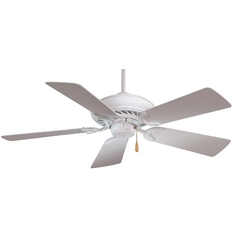 44-Inch Ceiling Fan with Five Blades in White Finish with White Blades