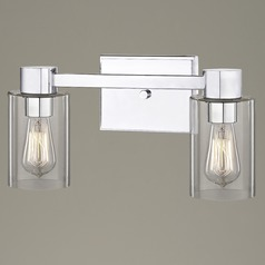 2-Light Clear Glass Bathroom Light Chrome