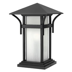 LED Pier Light with White Glass in Satin Black Finish