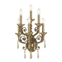 Crystorama Lighting Cast Brass Wall Mount Aged Brass Sconce