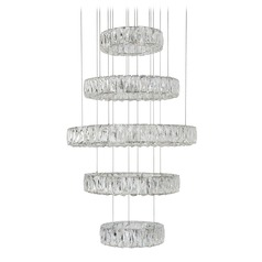 Crystal Chrome LED Chandelier with Clear Shade 4000K 5520LM