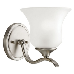 Kichler Sconce with White Glass in Brushed Nickel Finish