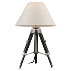 Table Lamp with White Shade in Chrome and Black Finish