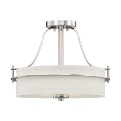 Semi-Flushmount Light with White Shades in Polished Nickel Finish
