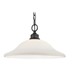 Bronze Pendant Light with Opal White Dome Shade