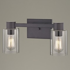 2-Light Clear Glass Bathroom Light Bronze