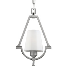 Feiss Preakness Satin Nickel / Polished Nickel Mini-Pendant Light with Cylindrical Shade