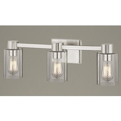 3-Light Clear Glass Bathroom Light Satin Nickel