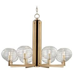 Mid-Century Modern LED Chandelier Brass Breton by Hudson Valley Lighting
