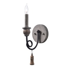 Kenroy Home Alexandra Weathered White with Oil Rubbed Bronze Arms Sconce