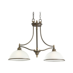 Island Light with White Glass in Estate Bronze Finish