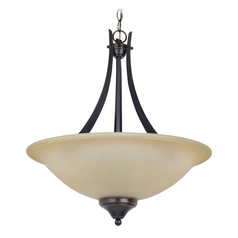 Pendant Light with Amber Glass in Burnt Sienna Finish