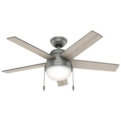 Hunter Fan Company Anslee Matte Silver Ceiling Fan with Light