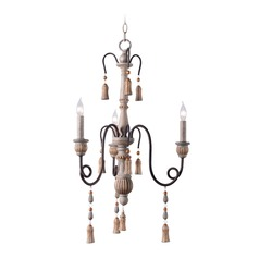 Kenroy Home Alexandra Weathered White with Oil Rubbed Bronze Arms Mini-Chandelier