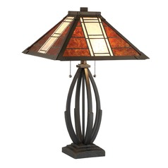 Lite Source Halden Dark Bronze Table Lamp with Square Shade