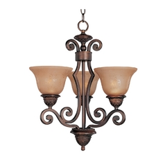 Mini-Chandelier with Amber Glass in Oil Rubbed Bronze Finish