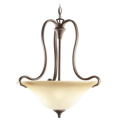 Kichler Pendant Light with Beige / Cream Shades in Olde Bronze Finish