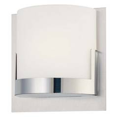 Modern Sconce Wall Light with White Glass in Chrome Finish